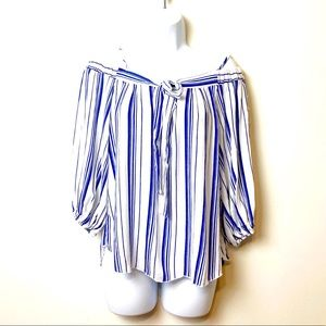 Krursh Navy and White Striped Off The Shoulders
